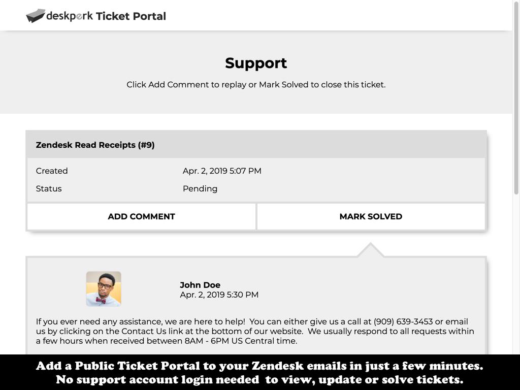 Zendesk Ticket Portal - DeskPerk